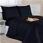 Edredom Dupla Face Soft Casa Dona Casal + 4 Porta Travesseiros e Lençol Preto