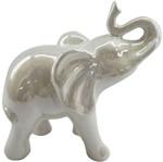 Elefante Decorativo em Cerâmica Branco Curved Snout Urban