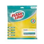 Embalagem com 2 Panos Amarelos Multiuso Flash Limp