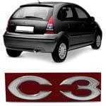 Emblema C3 do Porta Malas Citroen C3 2004 a 2012 Cromado