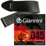 Encordoamento Giannini Baixo de 4 Cordas 045 100 GEEBRS + Correia Basso