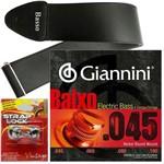 Encordoamento Giannini Baixo de 4 Cordas 045 100 GEEBRS + Strap Lock + Correia