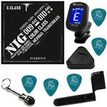 Encordoamento P/ Guitarra 010 046 Nig Color Class Preto N1640 + Kit IZ2