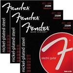 Encordoamento para Guitarra 011 049 Fender Medium 250M - Kit com 3 Unidades