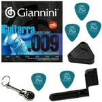 Encordoamento para Guitarra Giannini 09 046 Híbrido GEEGSTH9 + Acessórios IZ1