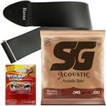 Encordoamento SG Baixolão de 4 Cordas 045 6700 + Strap Lock + Correia Basso