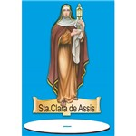 Enfeite Arte em Madeira Mdf e Tecido Colado com Base Sta. Clara de Assis Amtb-006 - Litoarte
