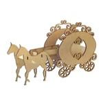 Enfeite de Mesa em MDF Carruagem e Cavalo Coração - Palácio da Arte