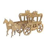 Enfeite de Mesa em MDF Carruagem e Cavalo Trabalhado - Palácio da Arte