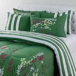 Enxoval Cama King Herbal Verde 7 Peças 100% Algodão - Casa & Conforto