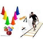 Escada + Corda + 12 Pratos +12 Cones Demarcatório Funcional