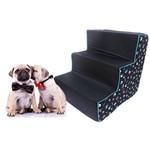 Escada para Cão e Gato Conforto Escadinha Pet Preto Estampado Cachorrinhos