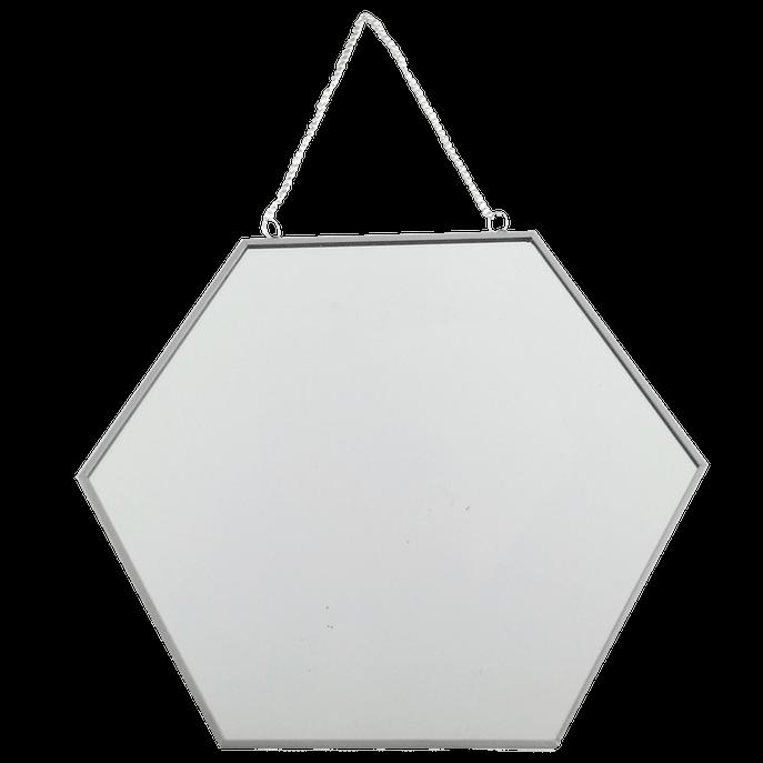 Espelho 30 Cm - Hexagonal Cinza