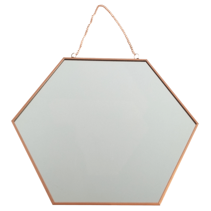 Espelho 30 Cm - Hexagonal Cobre