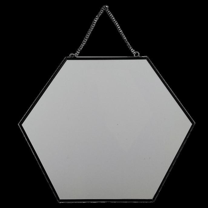Espelho 30 Cm - Hexagonal Preto