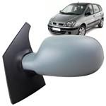 Espelho Retrovisor Externo Lado Esquerdo com Controle Manual Capa de Plástico Prime para Pintar Renault Scenic 98 Até 2012