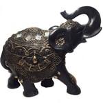 Estátua de Elefante Indiano Preto e Dourado Resina 21cm