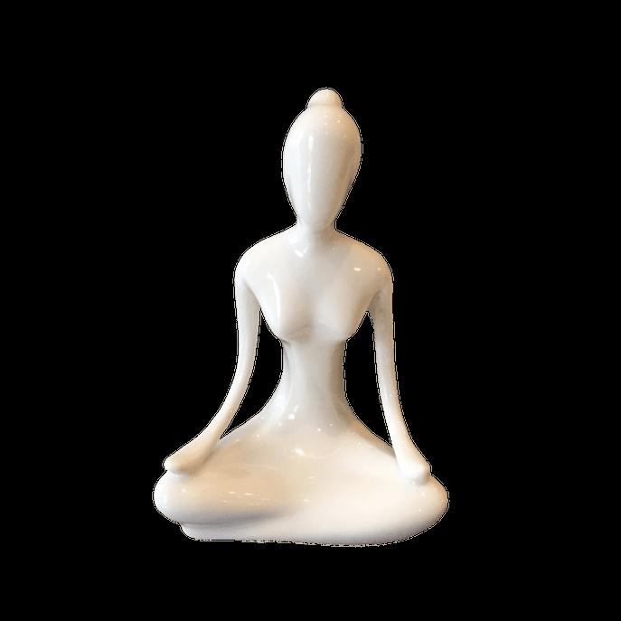 Estátua Yoga Flor de Lótus Branca Branco