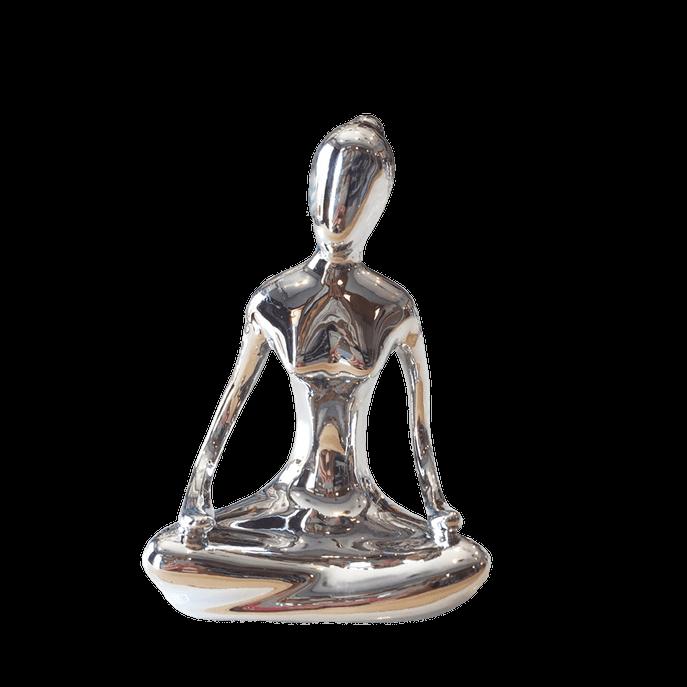 Estátua Yoga Flor de Lótus Prata Prata
