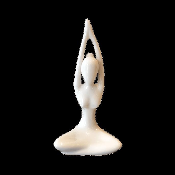 Estátua Yoga Saudação Namastê Branca Branco