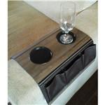 Esteira/Bandeja para Sofá com Porta Copos e Porta Controle - Cor Nogal