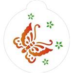 Estêncil para Pintura Redondo 10x10 Borboletas Flores III OPA827 - Opa