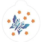 Estêncil para Pintura Redondo 10x10 Borboletas Flores OPA825 - Opa
