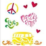 Estêncil para Pintura Simples 20x25 Paz e Amor - Opa1275 - Opa