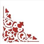 Estêncil para Pintura Simples 14x14 Cantoneira Arabesco Cruz - Opa1733 - Opa
