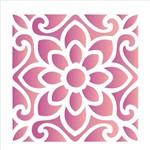 Estêncil para Pintura Simples 14x14 Ladrilho Flor - Opa1735 - Opa