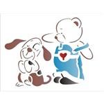 Estêncil para Pintura Simples 15x20 Urso e Cachorrinho OPA1321 - Opa