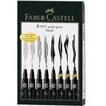 Estojo de Canetas Pitt Faber Castell Preta com 8 Tipos de Pontas - Ref 167137