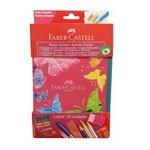 Estojo Escolar Nylon Borboleta Rosa Faber Castell