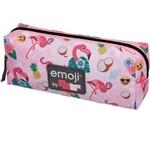 Estojo Tecido Emoji Flamingo Grande 1 Zíperes