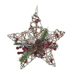 Estrela Rústica C/laço P/ Árvore de Natal Natural