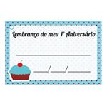 Etiqueta Lembrança 1º Aniversário Cupcake Azul