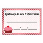 Etiqueta Lembrança 1º Aniversário Cupcake Rosa