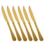Faca de Churrasco Elite Glamour Dourado 6 Peças Gourmet Mix