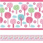 Faixa Decorativa para Quarto de Bebê Floresta Rosa 3mx15cm