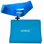 Faixa Elastica Tensao Forte + Mini Band Forte Azul Liveup