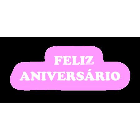 Faixa Feliz Aniversário EVA Rosa C/ Branco