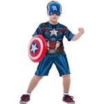 Fantasia Capitão América Infantil Curta com Escudo Original Marvel Rubies 2121
