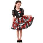 Fantasia de Caveira Mexicana Jardineira de Halloween Infantil Feminino - G 8 - 10