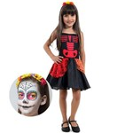 Fantasia de Halloween Infantil Caveira Mexicana com Maquiagem