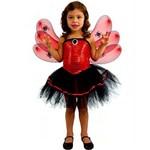Fantasia de Halloween Infantil Menina Spider Red com Asas e Antenas