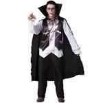 Fantasia de Halloween Masculina Adulto Vampiro de Luxo com Capa e Dentadura