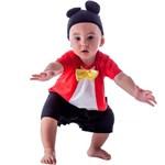 Fantasia de Ratinho Mickey Bebê Macacão Curto com Orelhas - GG 9 - 12 Meses