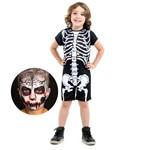 Fantasia Esqueleto com Maquiagem - Halloween M