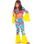 Fantasia Hippie Feminino Infantil Completa com Medalhão - P 2 - 4