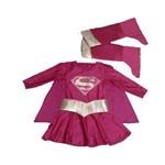 Fantasia Infantil Superwoman Rosa Tam Único